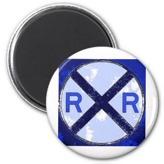 Painted Railroad Blue Crossing Magnet