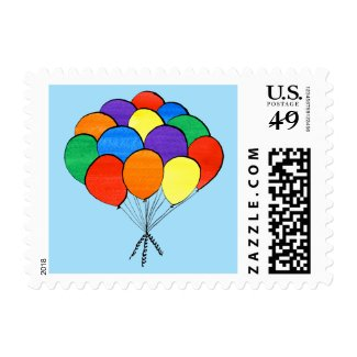 Painted Rainbow Colored Balloons on Light Blue Postage