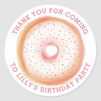 Painted Rainbow Sprinkle Donut Thank You Classic Round Sticker