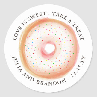 Painted Rainbow Sprinkle Donut Wedding Thank You Classic Round Sticker