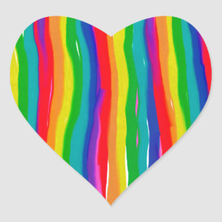 Painted Rainbows Heart Sticker