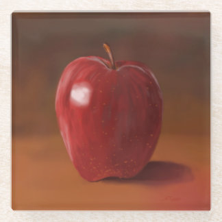Painted Red Apple Glass Coaster