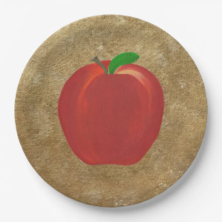 Painted Red Apple on Gold Glitter Background Plate