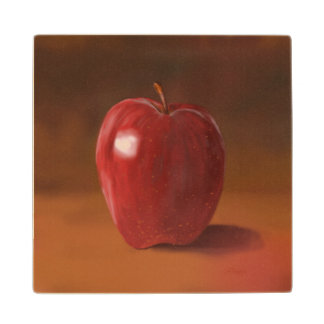 Painted Red Apple Wooden Coaster