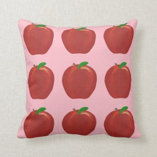 Painted Red Apples Green Leaves Throw Pillows