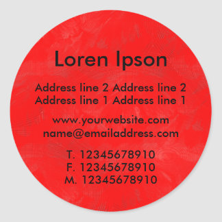 Painted Red Business / Profile Round Stickers