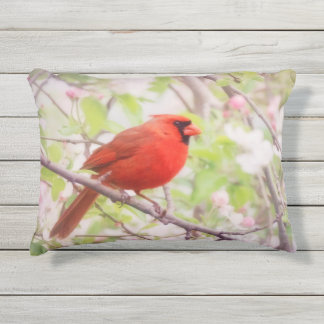 Painted Red Cardinal in Tree with Apple Blossoms Outdoor Pillow