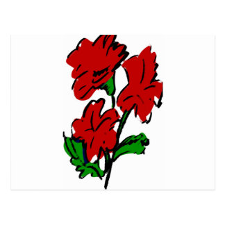 PAINTED RED FLOWERS POSTCARD