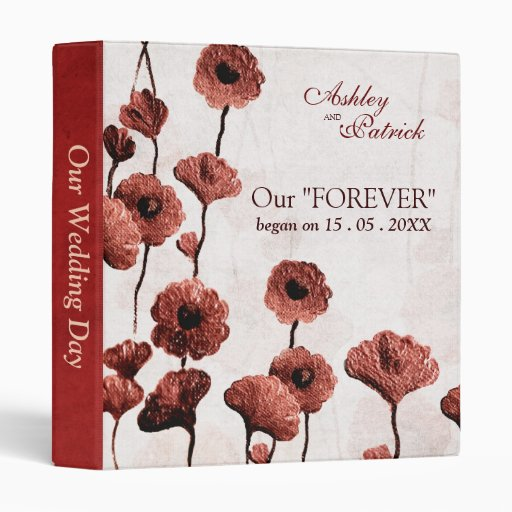 Painted Red Flowers Wedding Photo Album 3 Ring Binders
