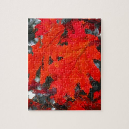 Painted Red Maple Leaf Jigsaw Puzzles
