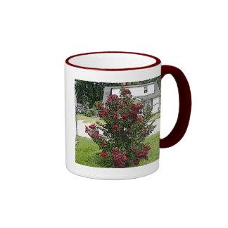 Painted Red Myrtle Bush Ringer Mug