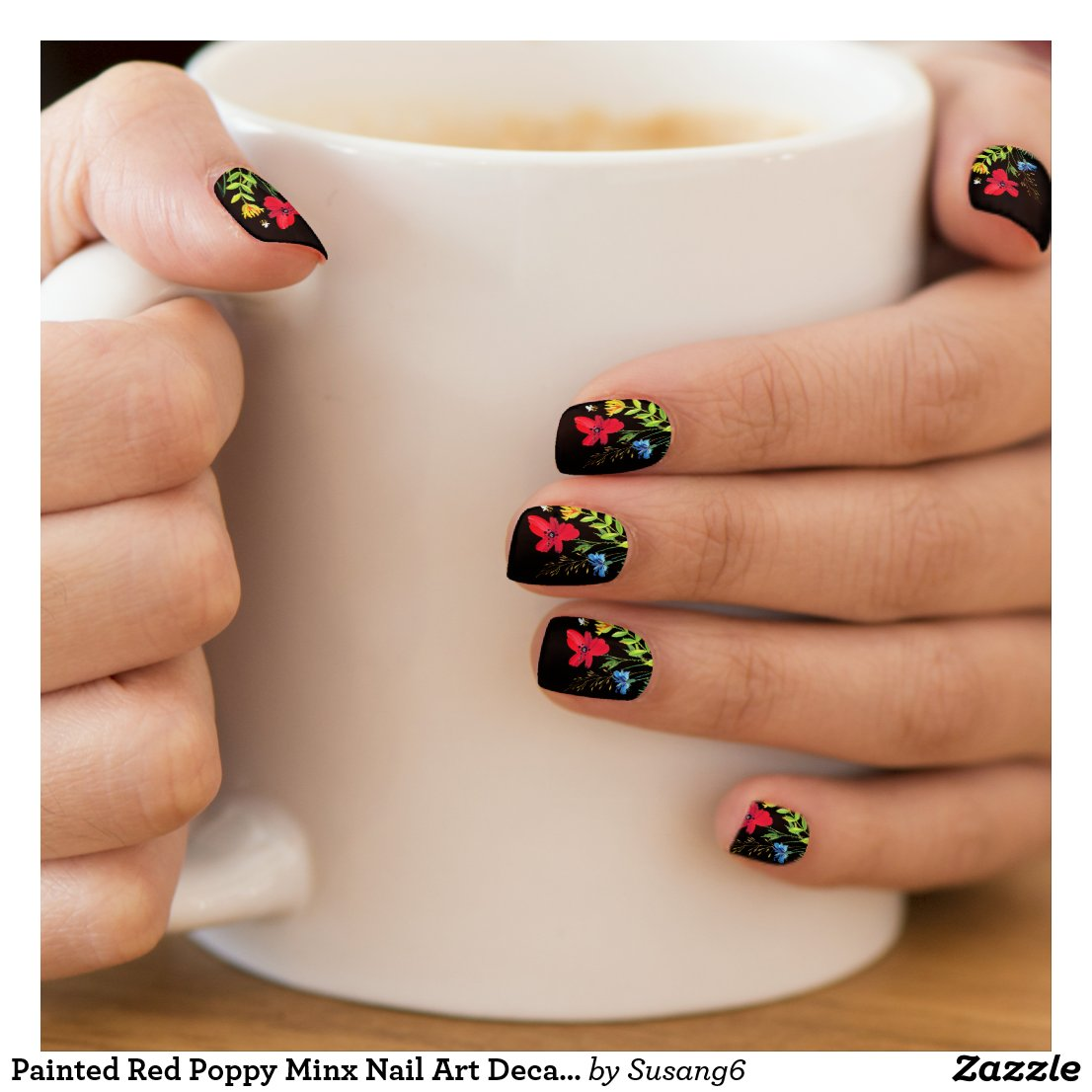 Painted Red Poppy Minx Nail Art Decals