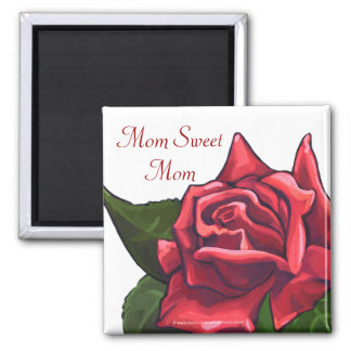 Painted Red Rose Mom Sweet Mom Magnet