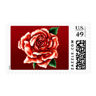 Painted Red Rose Postage Stamps