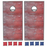 Hand shaped Painted Red Wooden Beach Panel. Cornhole Set