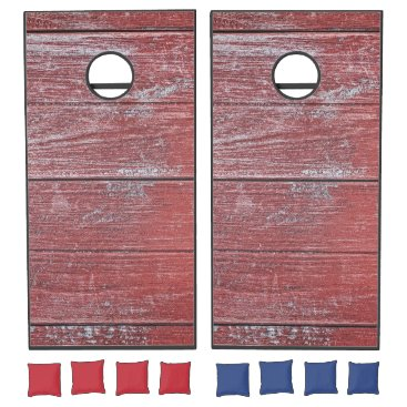 Beach Themed Painted Red Wooden Beach Panel. Cornhole Set