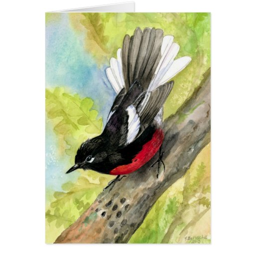 Painted Redstart Watercolor Notecard Stationery Note Card