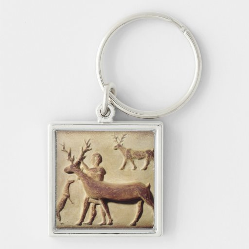 Painted relief depicting a man with deer Silver-Colored square keychain