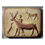 Painted relief depicting a man with deer poster
