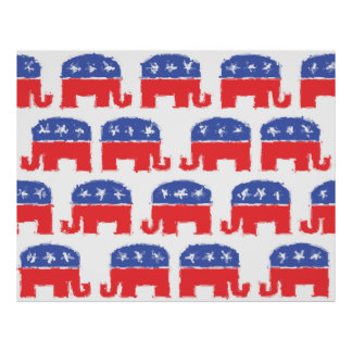 Painted Republican Elephants Print
