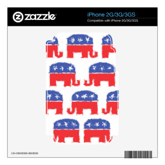 Painted Republican Elephants iPhone 3 Skins