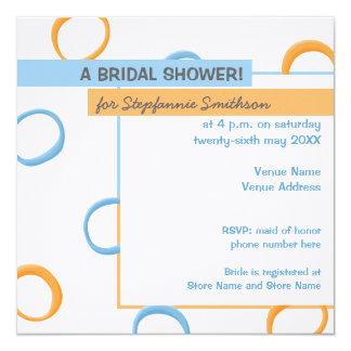 Painted Retro Circles blue Bridal Shower Card