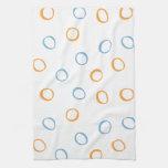 Painted Retro Circles blue Kitchen Towel