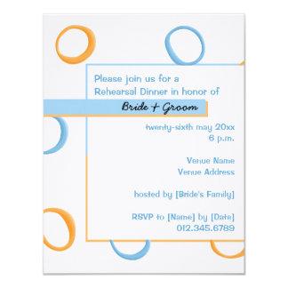 Painted Retro Circles blue Rehearsal Dinner Invite