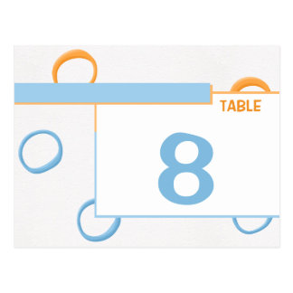 Painted Retro Circles blue Table Place Card