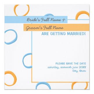 Painted Retro Circles blue Wedding Announcement