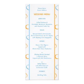 Painted Retro Circles blue Wedding Menu Card
