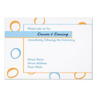 Painted Retro Circles blue Wedding Reception Card