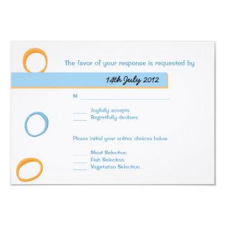 Painted Retro Circles blue Wedding RSVP Card
