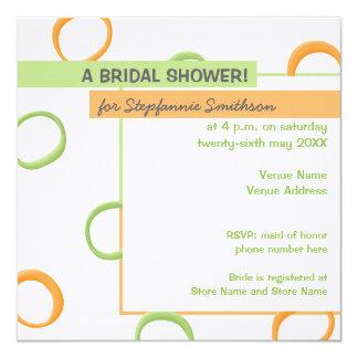 Painted Retro Circles green Bridal Shower Card