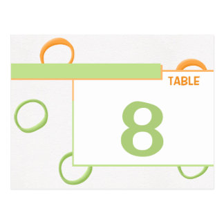 Painted Retro Circles green Table Place Card