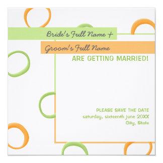 Painted Retro Circles green Wedding Announcement