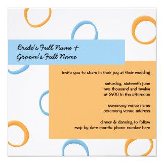 Painted Retro Circles orange blue 2 Wedding Invite