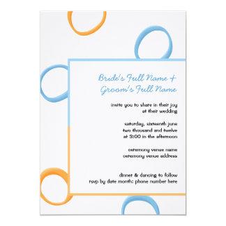 Painted Retro Circles orange blue 3 Wedding Invite