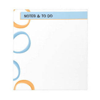Painted Retro Circles orange blue Small Notepad