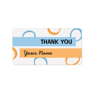 Painted Retro Circles orange blue Thank You Tag