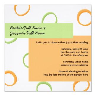Painted Retro Circles orange green2 Wedding Invite