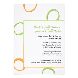 Painted Retro Circles orange green3 Wedding Invite
