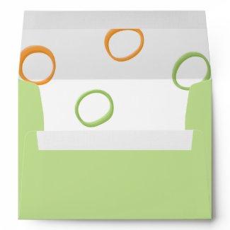 Painted Retro Circles orange green A7 Envelope envelope