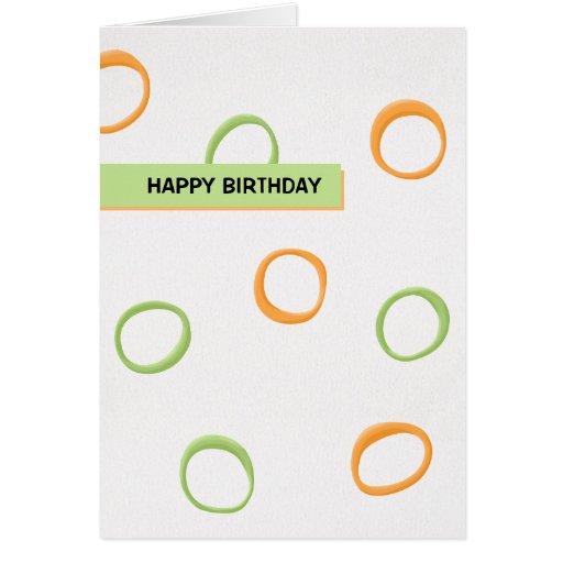 Painted Retro Circles orange green Birthday Card