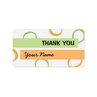 Painted Retro Circles orange green Thank You Tag