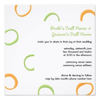Painted Retro Circles orange green Wedding Invite