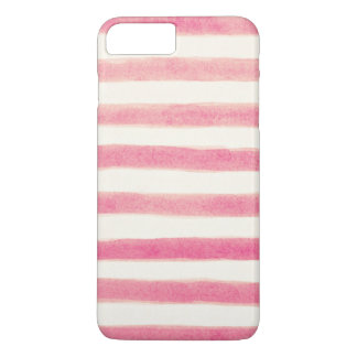 Painted Retro Pink Stripes Girly iPhone 8 Plus/7 Plus Case