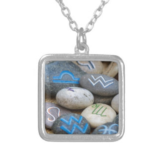 painted rocks silver plated necklace
