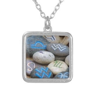 painted rocks square pendant necklace