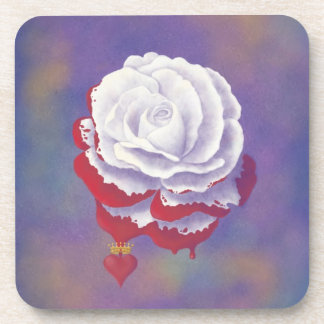 Painted Rose Cork Coaster
